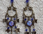 """Long sleepers hanging earrings, dove chandelier, cabochon and charms, bohemian chic style-  """"Blue wax design"""" - model """"Colomba"""""""