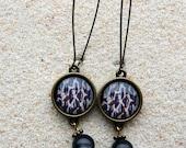 "Long Sleepers earrings, boho chic, "" Beige wildcat Skin Design"" and smoked gray beads - model  ""Do"""