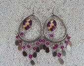"""Long earrings, chic bohemian, candlestick, crystal beads cabochon and charms - Design Wax pink flowers - Model """"Helena"""""""
