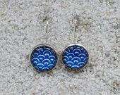Stud Earrings, blue wax Africa - model Eva