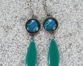 "Cabochon and drop earrings, long, dangling, model ""Flavia"" - blue daisy design"