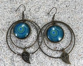 """Long earrings, creoles, design """"Hawaian turquoise dots"""", aged brass, round cabochons, hoops and charms - """"Mathilde"""" model"""