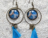 """Long drop earrings, round hoops and cabochon, charm and pompom- Model """"Zina"""" - Wax blue mini dots design"""