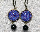"Sleepers drops earrings, round cabochon,glass beads - Blue wax design - Model "" Caroline"""