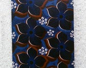 "Printed double postcard and matched white envelope- Design   ""Blue african wax flowers"""