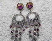 "Earring sleepers earrings, long boho chic, tassel and clover metal - wax - rose flower drawing model ""Emilie"""