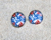 "Cufflinks model ""Hugo""  silvery base - Design "" Red boats and blue waves"""