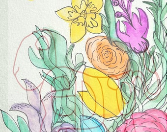 Flowers and Bees Print