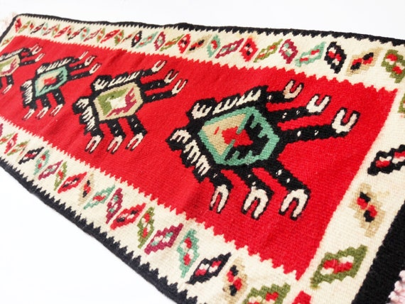 Red hand embroidered table runner Table topper rustic home decor Needlepoint dresser scarves Ukrainian ethnic decor table centerpiece