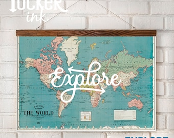 World map hanging etsy custom lettered hanging map world travel art print framed gift vintage lettered explore decor gumiabroncs Image collections