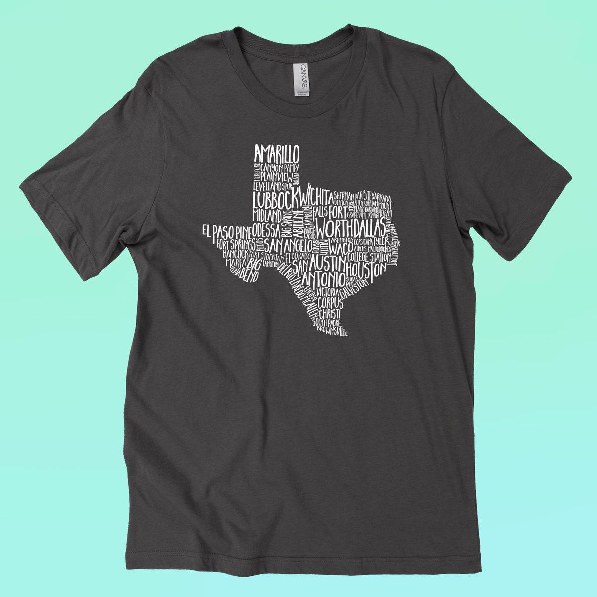 Texas Cities Shirt Screen Printed Fort Worth Dallas San Etsy