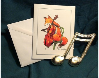Fox and Cello Notecards, box of 8