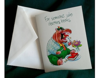 Book Lover Notecards - Hippo