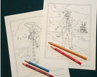 DIGITAL DOWNLOAD Mabel/Frederic coloring sheets; Gilbert & Sullivan 'The Pirates of Penzance'