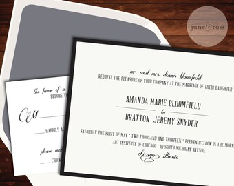 Chic Black and White Typography Invitation - Custom Handmade Wedding Invitation Suite by June & Ross Paper - Deposit to get started