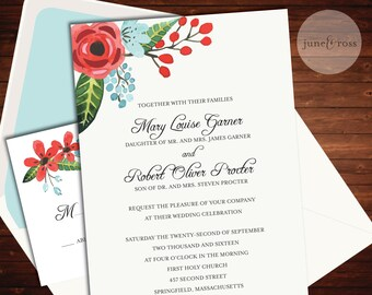 Modern Floral Wedding Invitation - Custom Handmade Wedding Invitation Suite by June & Ross Paper - Deposit to get started