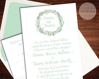 Romantic Watercolor Botanical Wreath Invitation - Custom Handmade Wedding Invitation Suite by June & Ross Paper - Deposit to get started