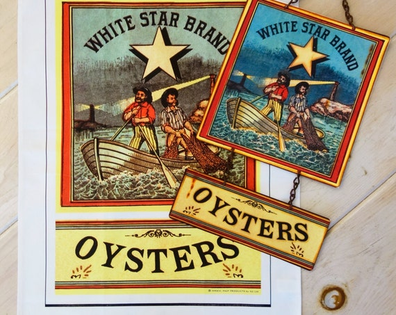 History in the Making - Kitchen Combo - OYSTERS Kitchen Towel and Vintage Metal Sign