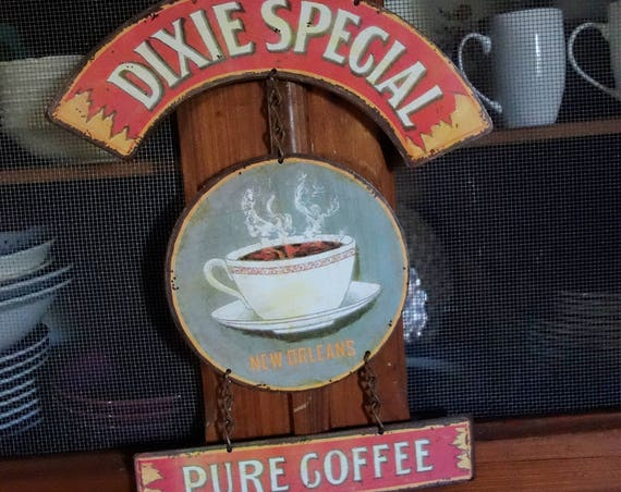 "Vintage Metal Sign ""Southern Dixie Special Pure Coffee"" Home Wall Decor, Historic Lithographed Coffee Label."