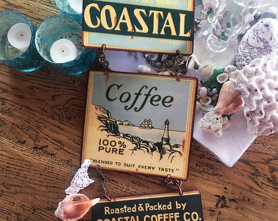 "BEACH HOUSE Special Vintage Metal Sign ""Coastal Coffee"" Home Wall Decor, Historic Art Label. PASTin®"