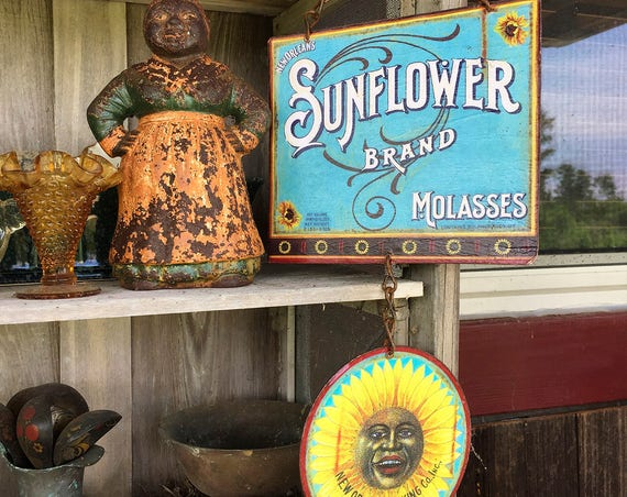 "BRIGHTEN YOUR DAY Covid Special Vintage Metal Sign ""Sunflower Molasses Brand"" Home Wall Decor, Historic Art Label. PASTin®"