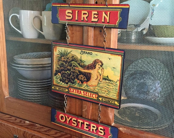 "BEACH HOUSE SPECIAL Metal Sign ""Siren Oysters"" Home Wall Decor, vintage can label reproduction. PASTin®"