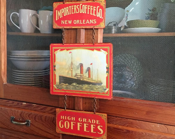 "TAKE A CRUISE  Special  Vintage Metal Sign ""Importers Coffee Co."" Home Wall Decor, Old Historic Art Label. PASTin®"