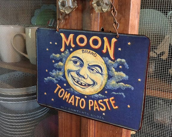 "Vintage Metal Sign  SMILE ! ""Moon Tomato Paste"" Home Wall Decor, Old Historic Art Label. PASTin®"