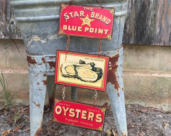 "OYSTERS ON 1/2 SHELL  Special Metal Sign ""Star Brand Oysters"" Home Wall Decor, vintage can label reproduction. PASTin®"