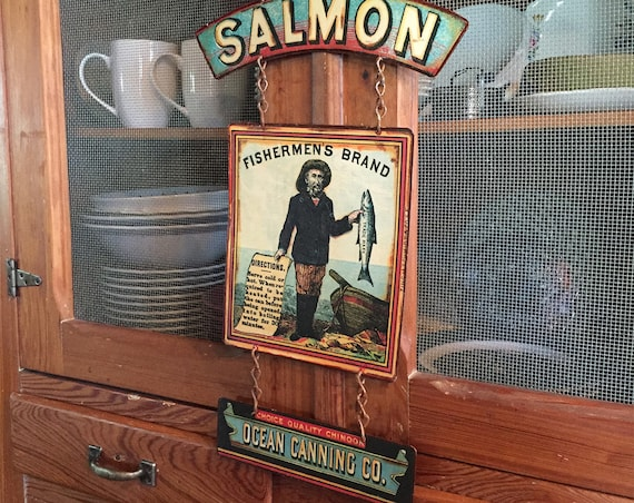 "MAN CAVE SPECIAL Vintage Metal Sign ""Fishermen's Brand Salmon"" Home Wall Decor, Historic Art Label. PASTin®"