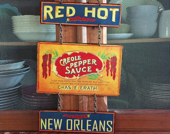 "Vintage Metal Sign  HOT SAUCE SPECIAL! ""Red Hot Creole Pepper Sauce"" Home Wall Decor, Historic Art Label. PASTin®"