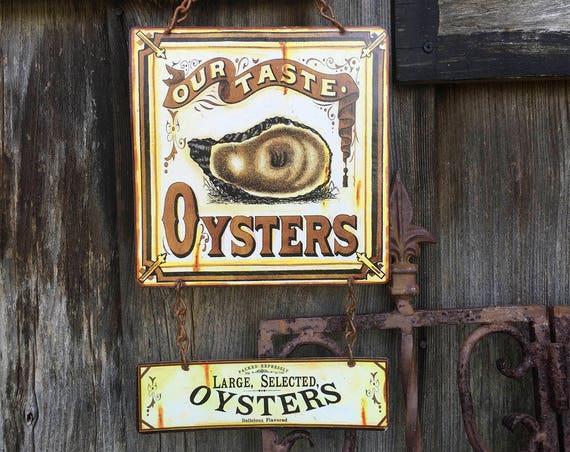 "Metal Sign Oyster Bar ""Our Taste Oysters"" Home Wall Decor, vintage can label reproduction. PASTin®"