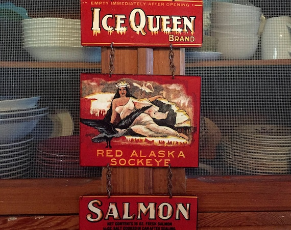 "QUEEN FOR DAY! Metal Sign ""Ice Queen Salmon"" Home Wall Decor, vintage can label reproduction. PASTin®"