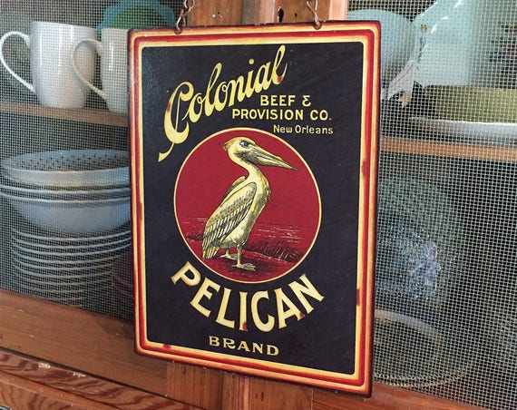 "Metal Sign Beach House ""Colonial Pelican"" Home Wall Decor, vintage crate label reproduction. PASTin®"