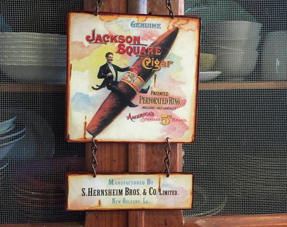 "MAN CAVE Vintage Metal Sign ""Jackson Square Cigar"" Home Wall Decor, Historic Art Label. PASTin®"