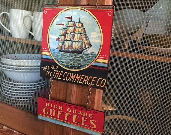 "SAIL AWAY Metal Sign ""Commerce COFFEE Brand"" Home Wall Decor, Historic Art Label. PASTin®"