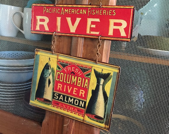 FISHERMAN SPECIAL Metal Sign Salmon Can Label Reproduction. Home Wall Decor, Vintage Look. PASTin®
