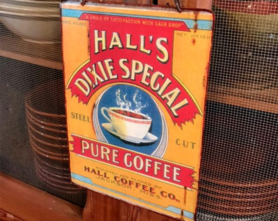 "COFFEE Vintage Metal Sign ""Hall's Dixie Coffee"" Wall Decor. PASTin®"