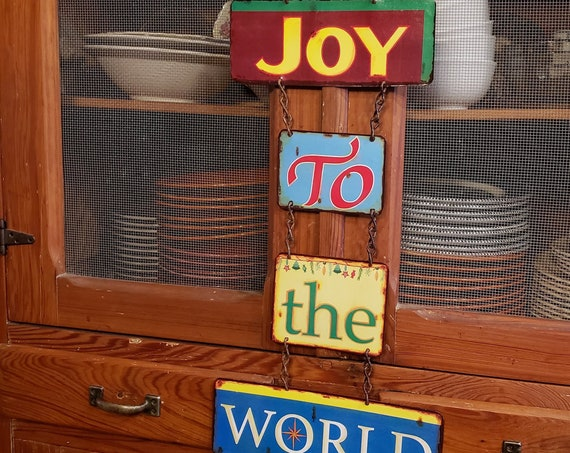 "Holiday Special  METAL SIGN ""JOY to the World"". Christmas sign. Christmas Decoration."