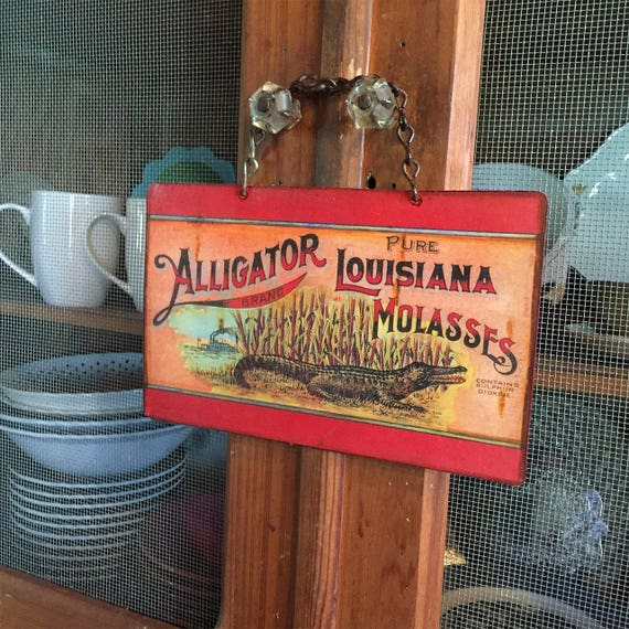 "Metal Sign ""CAJUN Alligator"" Home Wall Decor, vintage can label reproduction. PASTin®"