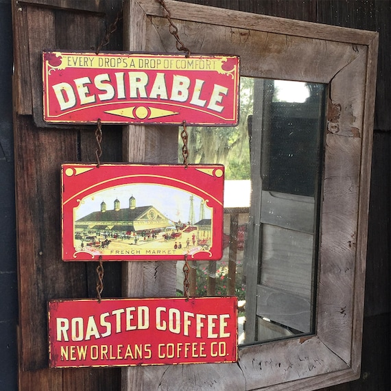 "Metal Sign Who do you Desire? ""Desirable Roasted Coffee"" Home Wall Decor, vintage can label reproduction. PASTin®"