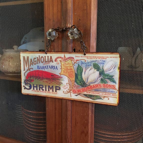 "Vintage Metal Sign ""Bright and Cheery Magnolia Shrimp"" Home Wall Decor, Historic Art Label. PASTin®"