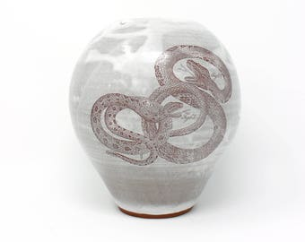 "Snakes on a vase | 8"" wheelthrown earthenware vase with snake decals"