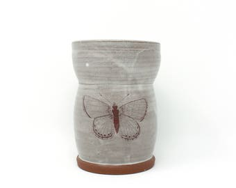 "Butterfly vase | 5.5"" earthenware vase with vintage image"