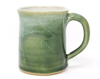 Green leaf mug | Stoneware mug with celadon glaze