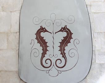 Ceramic cheeseboard | Serving tray with twin seahorse decal