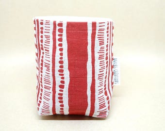 Pots in fabric, planters, accessory for the home, cotton, linen and red screen print