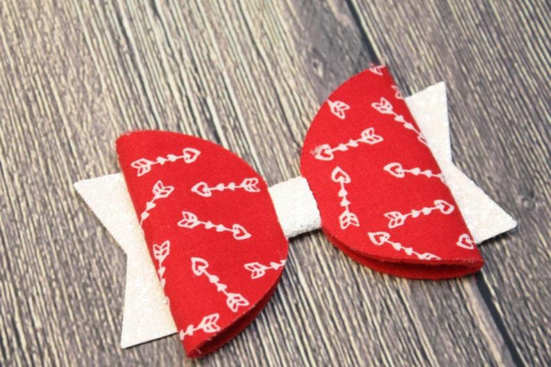 Heart Headband Nylon Baby Headband Glitter Bow Baby Girl Bow Headband Valentine Headband Baby Bow Headband Faux Leather Bow Headband