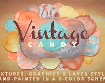 Vintage Candy - High-Res Watercolor Textures, Layer Styles, PNGs - PNG Clipart - Hand-Painted - Watercolor PNGs - Digital Paper