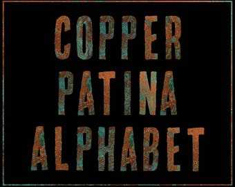 Copper Patina Alphabet Clip Art - Digital Alphabet - Scrapbooking, Card Making, Invitations - Printable Alphabet - Commercial Use